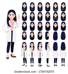 Cartoon character with a professional female doctor in a smart uniform for animation. Front, side, back, 3-4 view character. Separate parts of the body. Flat vector illustration.