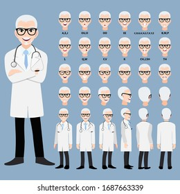 Cartoon character with a professional male doctor in a smart uniform for animation. Front, side, back, 3-4 view character. Separate parts of the body. Flat vector illustration.