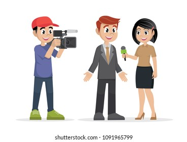 Cartoon character, Professional reporter with microphone interviews and man with a cameraman video camera., vector eps10