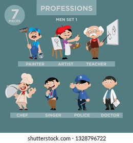 Cartoon Character Professions Illustraion Men Set. ( Painter, Artist, Teacher, Chef, Singer, Police, Doctor)