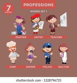 Cartoon Character Professions Illustraion Women Set. ( Painter, Artist, Teacher, Chef, Singer, Police, Doctor)