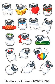 Cartoon character pug dog poses. Cute Pet dog in the flat style. Set dogs. Cute dog of pug breed.Vector collection of cute cartoon pugs: puppies, adult dog. Dogs emoji stickers,patches collection.