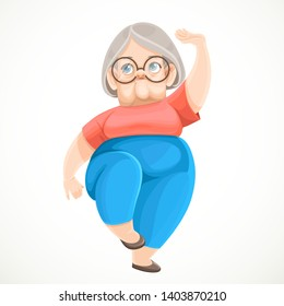 Cartoon character retired grandmother doing qigong exercises revitalizing her body isolated on white background