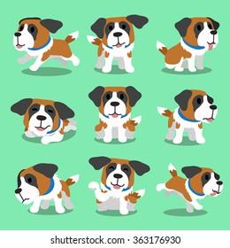 Cartoon character saint bernard dog poses