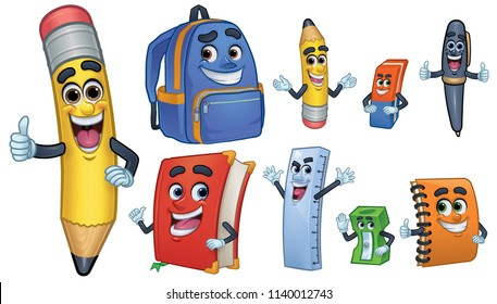 Cartoon Character school Stationery: Pencil, Book,  Spiral Notebook, Ballpoint, Sharpener, Ruler,  Eraser, School Bag_Vector Illustration EPS 10