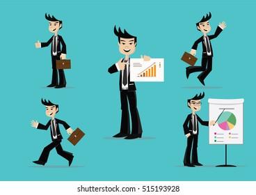 Cartoon character, Set of businessman poses., vector eps10