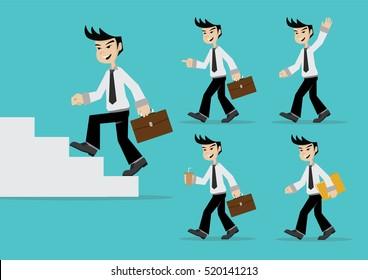 Cartoon character,  Set Businessman walking., vector eps10
