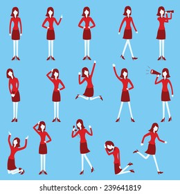 Cartoon character set of businesswoman in various poses, trendy flat design with simple style.
