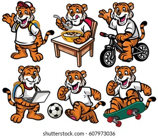 cartoon character set of cute little tiger