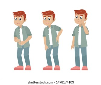 Cartoon character, Set of character men with pain in different parts of the body.,vector eps10