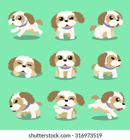 Cartoon character shih tzu dog poses
