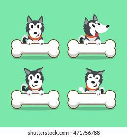 Cartoon character Siberian husky dog with big bones