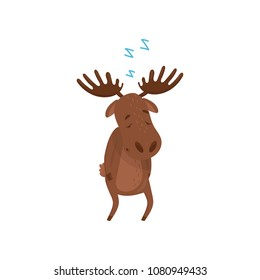 Cartoon character of sleepwalker moose. Wild forest animal. Brown Eurasian elk with large branched horns. Flat vector design