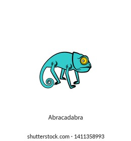 Cartoon character of a southern lizard. Funny cool wary chameleon is posing on a background. Vector illustration. Who is there? Abracadabra.