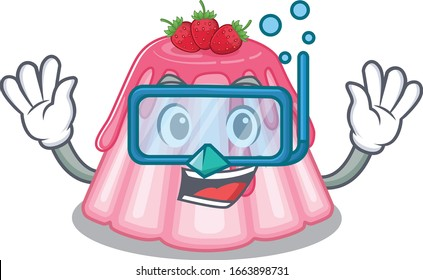 cartoon character of strawberry jelly wearing Diving glasses