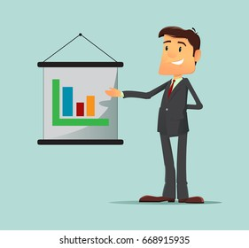 Cartoon character, Success businessman manager stand near desk with diagram graph. Vector modern flat design illustration. Full editable for animation.