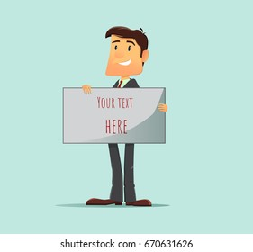 Cartoon character, Success businessman manager stand and holding board for insert text. Vector modern flat design illustration. Full editable for animation.