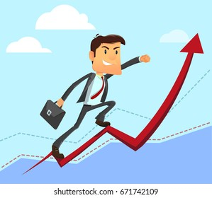 Cartoon character, Success businessman manager climbing on diagram graph with portfolio bag. Vector modern flat design illustration. Full editable for animation.