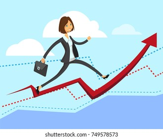 Cartoon character, Success young lady businesswoman manager climbing on diagram graph with portfolio bag. Vector modern flat design illustration. Full editable for animation.