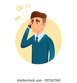 Cartoon character talking on phone with business icons. vector illustration