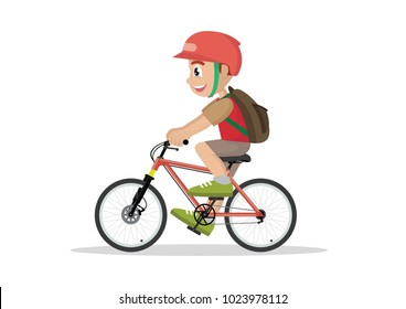 Cartoon character, Teen kid school boy cycling on bicycle ., vector eps10