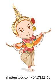 Cartoon character of traditional Thai dancer in Kinnari dress.