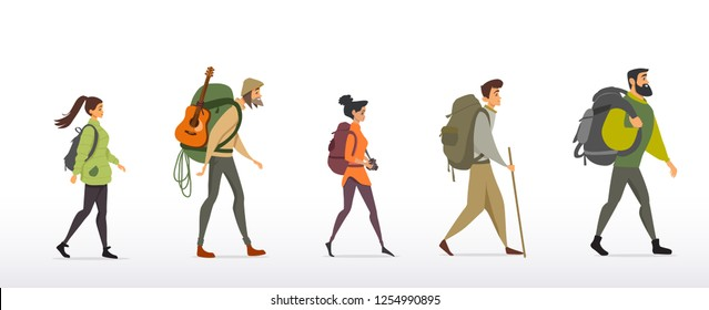 Cartoon Character Traveling People Backpacks On Stock Vector Royalty Free 1254990895