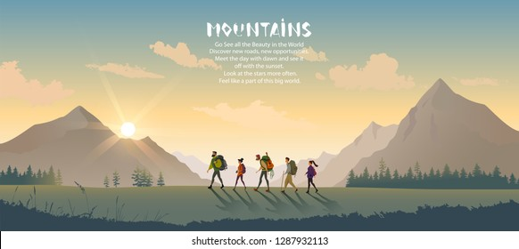 Cartoon character traveling people. Climbing on mountain. Vector illustration hiking and climbing team