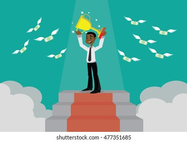Cartoon character, The trophy and success of the African businessman at the top., vector eps10