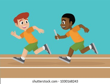 Cartoon character, Two Boy athletes are compete a relay race in the racetrack., vector eps10