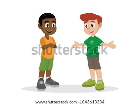Cartoon Character Two Boy Kids Talking Stock Vector ...