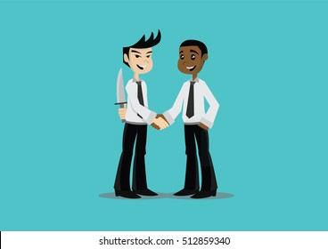 Cartoon character, Two businessman hand shaking while another people holding a knife  behind his back., vector eps10