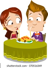 Cartoon character vector set of young couple eating spaghetti, and watch on each other. Isolated on white background