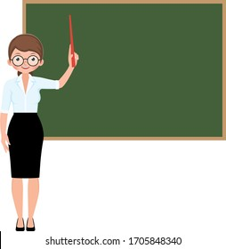 Cartoon character vector woman teacher with school pointer standing at the blackboard