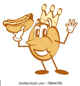 Cartoon character wearing a crown and holding a hotdog.