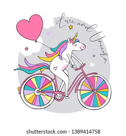 Cartoon character white Unicorn with a heart balloon on a bike with a rainbow wheels. Love and Unicorn - lettering quote. Humor card, t-shirt composition, hand drawn style print. Vector illustration.