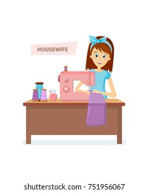Cartoon character woman. Homemaker, housewife engaged of housework. Affairs woman housewife knits, sews sitting at table at sewing machine things, in room. Illustration in cartoon style.