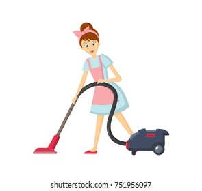 Cartoon character woman. Homemaker, housewife engaged of housework. Affairs woman housewife removes dust with a vacuum cleaner, in a beautiful home apron in the room. Illustration in cartoon style.