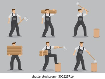 Cartoon character of a woodcutter carrying logs, chopping and splitting firewood with axe. Set of six vector illustrations isolated on grey background.