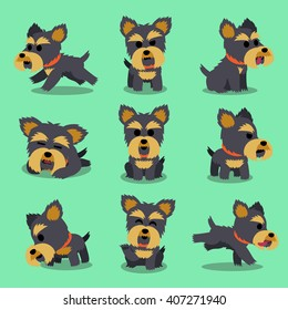 Cartoon character yorkshire terrier dog poses