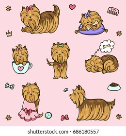 Cartoon character yorkshire terrier dog poses set. Hand drawn vector illustration.