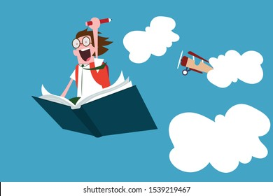 Cartoon character young student happy and excited going back to school after long break, fantasy elementary, pupil fly on book in the sky.