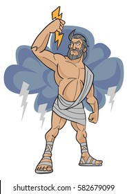 Cartoon character of Zeus the god of thunder