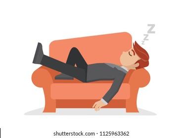 Cartoon character,businessman taking a nap on sofa.,vector eps10