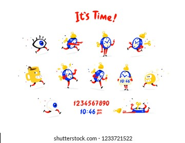 Cartoon characters alarm clock. Vector. Set of emotions and alarm clocks. The life of the clock. Logo for company, print and website. Time to wake up! Work mode. Eye, a cup of coffee, the sun. Morning