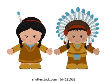 Cartoon characters of American Indians, man and woman in national dress. Vector illustration