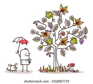 Cartoon Characters and Autumn Tree