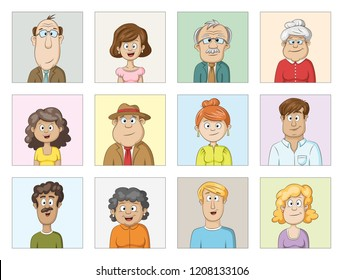 Cartoon characters avatars collection, people of different ages