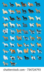 Cartoon characters different breeds of dogs illustration