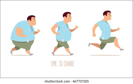 cartoon characters, different stages, fat problems, health problems, strong sport and fat people, process people, fast food problem, vector illustration